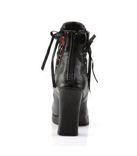 Gothic Damenstiefelette CRYPTO-51 - PU Schwarz/Rot