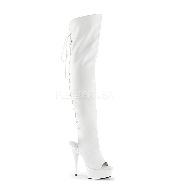 Plateau Overknee Stiefel DELIGHT-3019 - Weiß