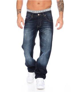 Herren Jeans Hose Denim Blau Straight-Cut gerades Bein RC-2091