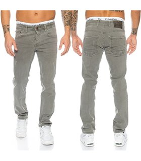 Herren Jeans Hose Grau Stretch-Jeans Denim Raw  RC-2097