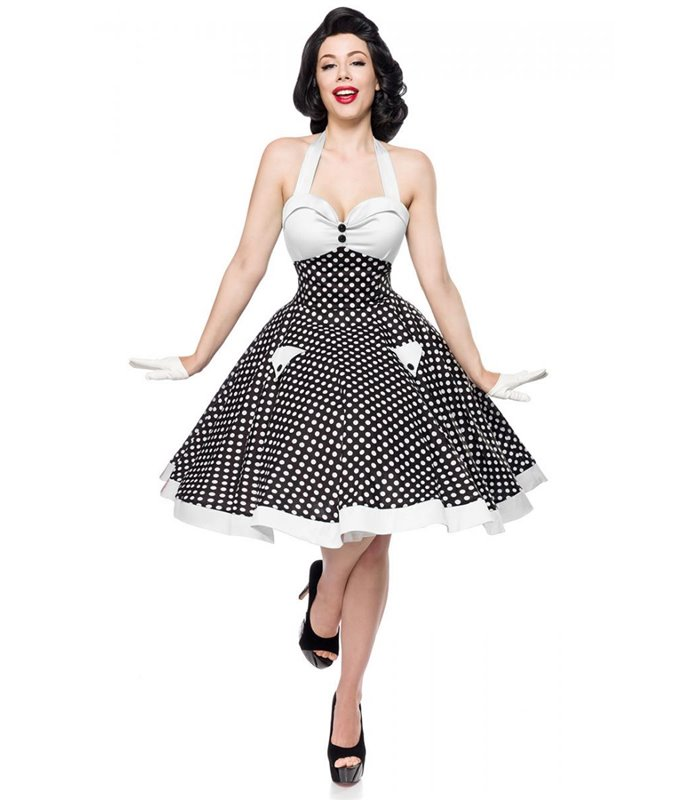 Belsira Vintage Swing Kleid Schwarz Weiss Midi Kleider Online Gunstig Kaufen