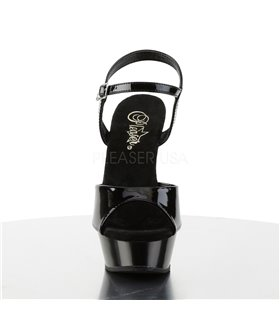 DEVIOUS DOMINA-415 Pumps Lack Schwarz mit T-Strap Tabledance
