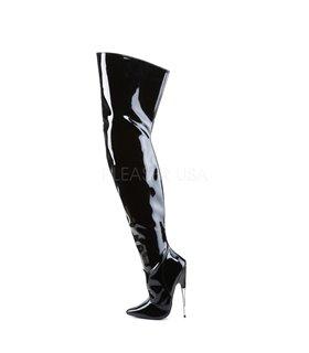 Plus-Size Stretchlack-Stiefel - Funtasma GOGO-300WC Schwarz Kunstleder