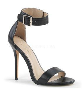 DEMONIA SINISTER-202 Schwarz/Chrom, wadenhohe Stiefel mit Riemchen und Nieten