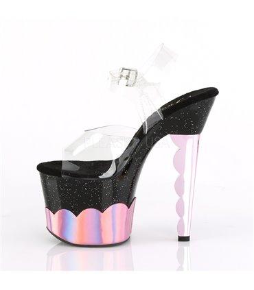 Ausgefallene Wedges Gothik Style BRAVO-10 Türkis Glitter SALE