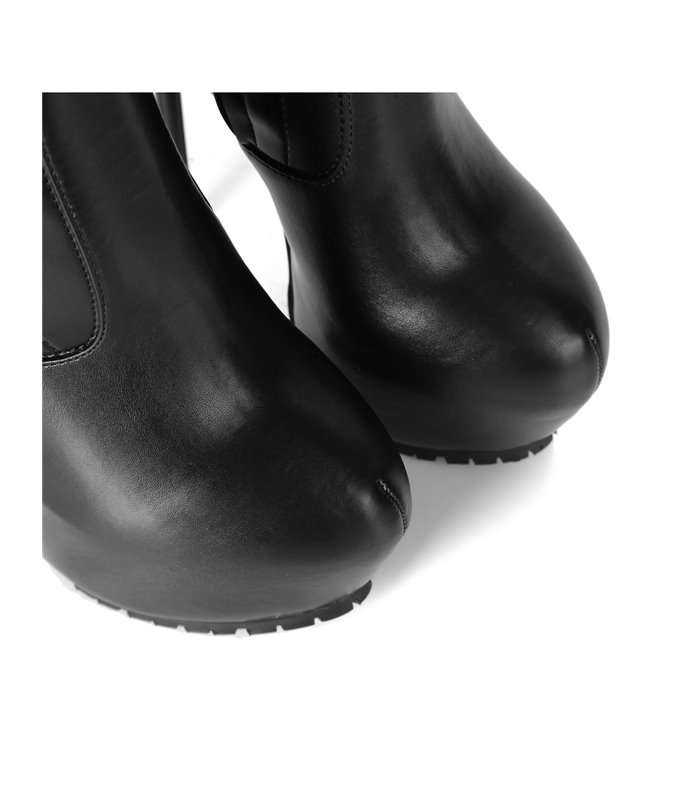Giaro Vida Damen Herren Unisex Plateau Overknee Stiefel schwarz matt