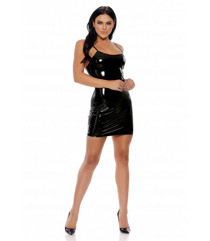Vinyl Cami Mini Dress Dress - Black