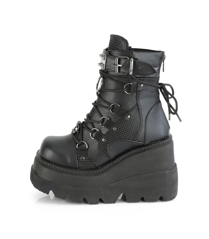 Gothic Ankle Boots (Vegan) SHAKER-60 - Lederimitat Schwarz